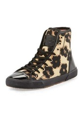 RED Valentino Leopard-Print High-Top Sneaker