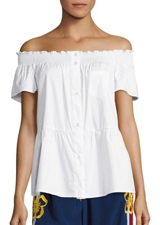 RED Valentino Off-The-Shoulder Peplum Blouse
