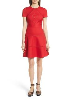 RED Valentino Open Stripe Fit & Flare Dress