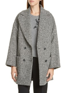 RED Valentino Oversize Double Breasted Herringbone Tweed Coat