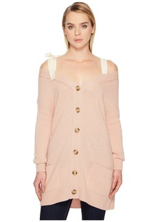 RED Valentino Oversized Cardigan with Grosgrain Bow
