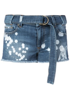 Red Valentino paint splatter denim shorts - Blue
