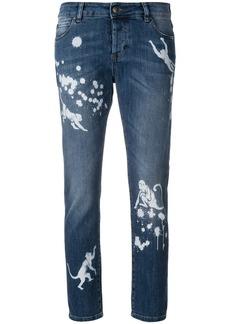 Red Valentino paint splatter effect monkey jeans - Blue