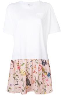 Red Valentino patterned hem T-shirt dress - White