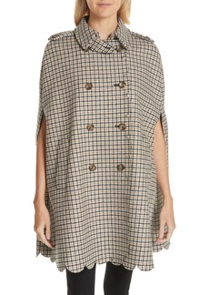 RED Valentino Plaid Wool Blend Cape