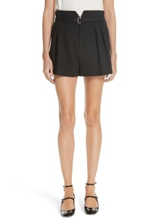 RED Valentino Pleated Wide Leg Shorts