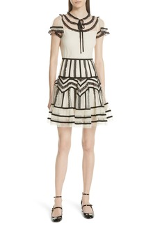 RED Valentino Point d'Esprit Ruffle Trim Dress