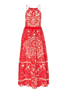 Red Valentino Pointelle-Knit Embroidered Cotton Dress