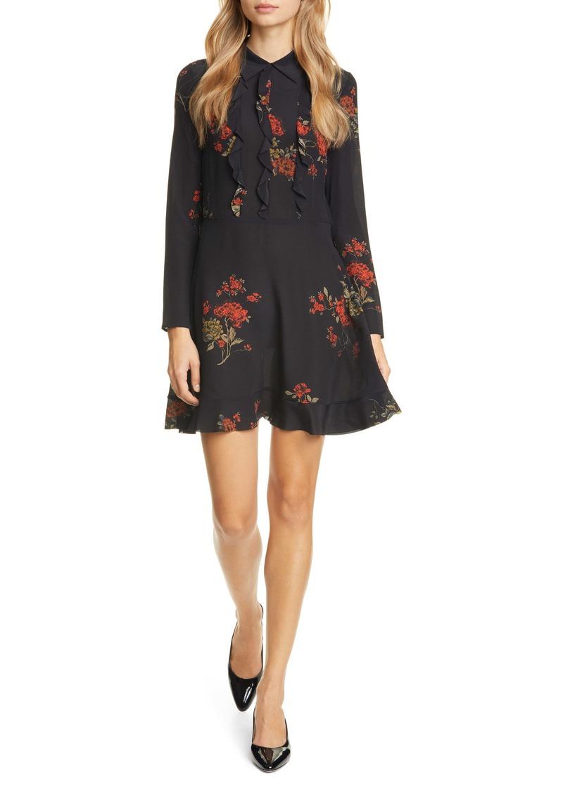 RED Valentino Ruffle Floral Print Long Sleeve Minidress