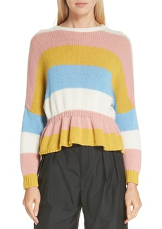 RED Valentino Ruffle Hem Stripe Wool Sweater