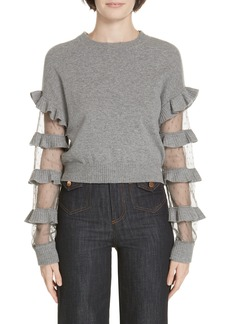 RED Valentino Ruffle Point d'Esprit Panel Wool Sweater