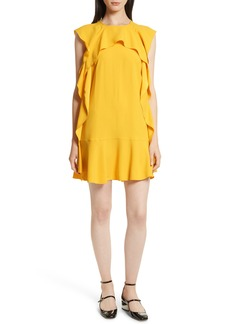 RED Valentino Ruffle Satin Back Crepe Dress