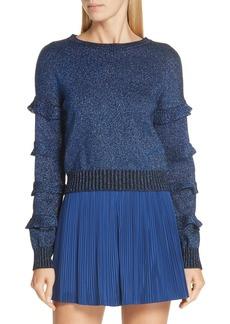 RED Valentino Ruffle Sleeve Metallic Wool Blend Sweater