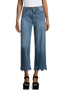 RED Valentino Scalloped Wide-Leg Jeans
