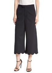 RED Valentino Scalloped Wool-Blend Culottes