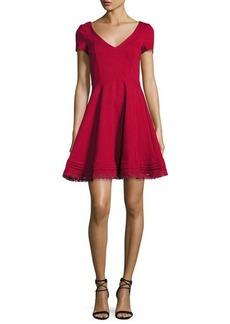 RED Valentino Short-Sleeve Lace-Hem Fit & Flare Dress