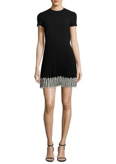 RED Valentino Short-Sleeve Lace-Trim Pleated A-Line Dress