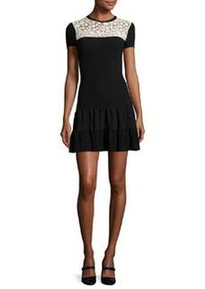 RED Valentino Short-Sleeve Lace-Yoke Fit-&-Flare Dress