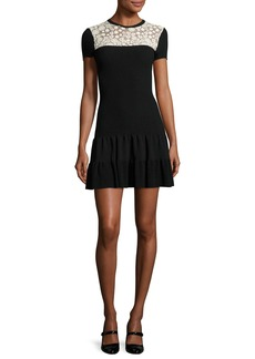 RED Valentino Short-Sleeve Lace-Yoke Fit-&-Flare Dress