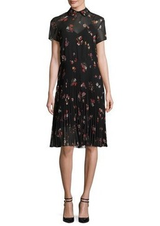 RED Valentino Short-Sleeve Pleated Floral-Print A-Line Dress