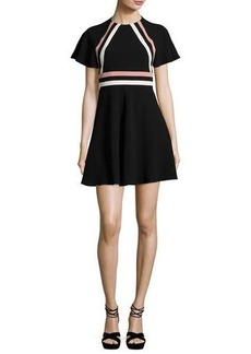 RED Valentino Short-Sleeve Striped Crepe Dress