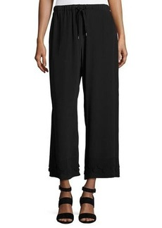 RED Valentino Silk Crepe de Chine Wide-Leg Cropped Pants