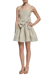 RED Valentino Sleeveless Bow-Front A-Line Linen Dress