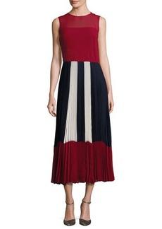 RED Valentino Sleeveless Colorblocked Pleated Muslin Midi Dress