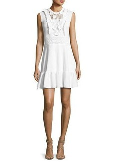 RED Valentino Sleeveless Crochet Cotton Dress w/ Embroidered Flowers