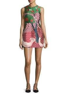 RED Valentino Sleeveless Embellished Multi-Patterned Dress
