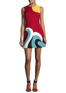 RED Valentino Sleeveless Intarsia Wave Cady Minidress