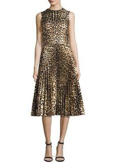 RED Valentino Sleeveless Leopard-Print Pleated Dress