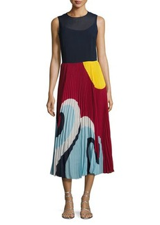 RED Valentino Sleeveless Pleated Wave-Print Maxi Dress