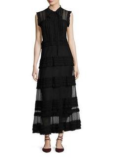 RED Valentino Sleeveless Point d'Esprit & Lace Ribbon Maxi Dress