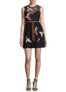RED Valentino Sleeveless Point d'Esprit Dress w/ Embroidered Hummingbirds