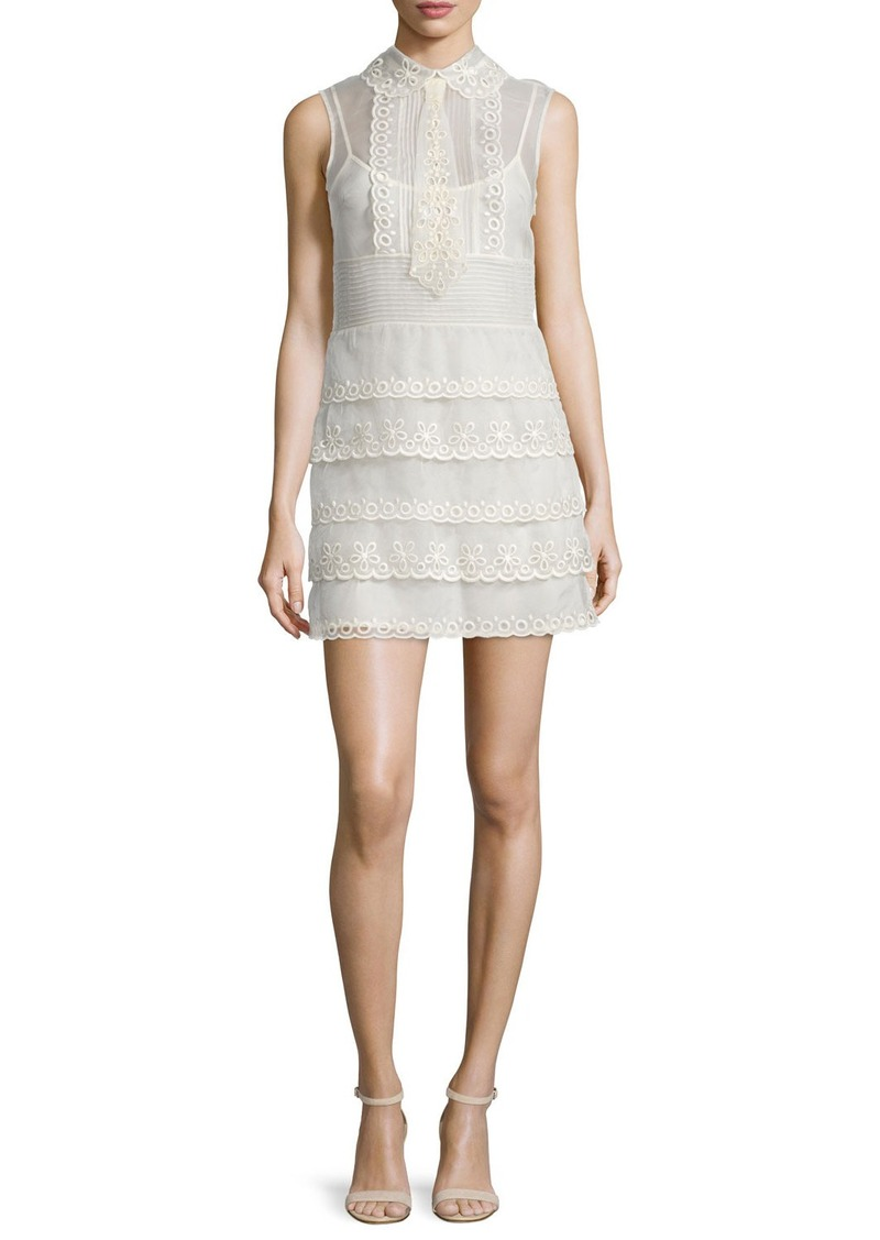 RED Valentino Sleeveless Scalloped Sheath Dress
