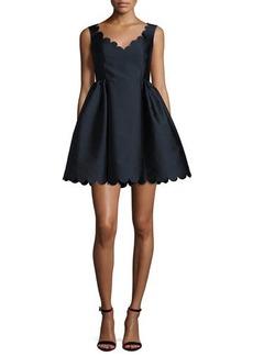 RED Valentino Sleeveless Scalloped V-Neck Twill Dress
