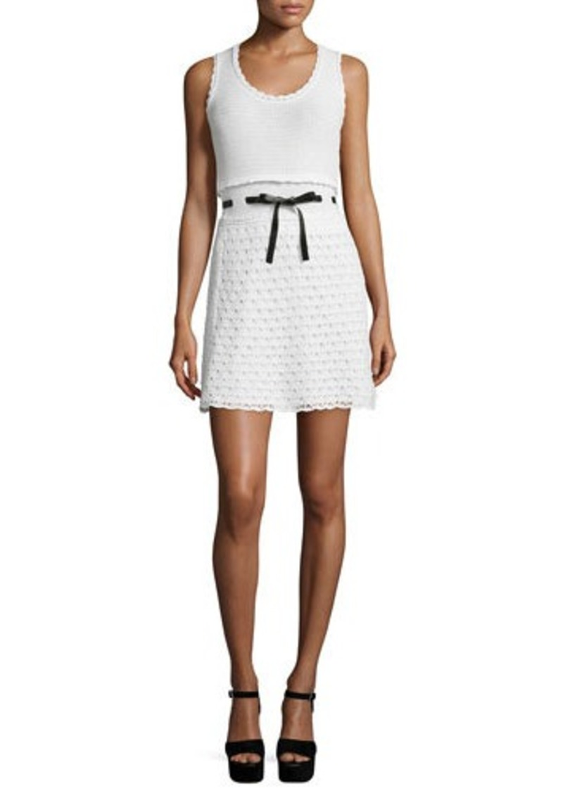 RED Valentino Sleeveless Scoop-Neck Crochet Dress