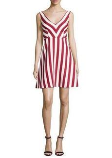 RED Valentino Sleeveless Striped Cotton-Blend Dress