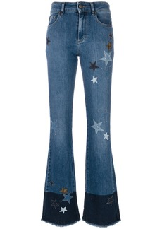 Red Valentino star patch flared jeans - Blue