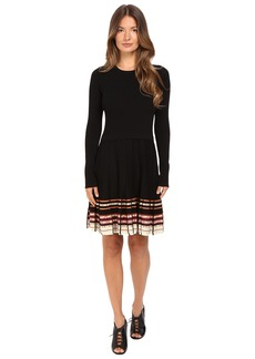 RED VALENTINO Stretch Viscose Dress with Inuit Pleating