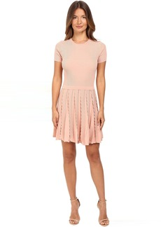 RED VALENTINO Stretch Viscose Dress with Scallop Detail