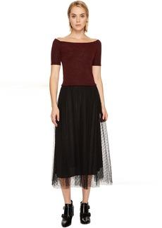 RED VALENTINO Striped Jersey Lurex Dress