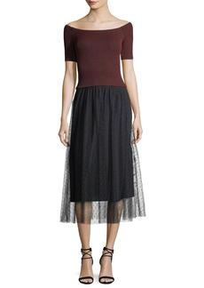RED Valentino Striped Lurex® Jersey Dress w/ Point d'Esprit Skirt