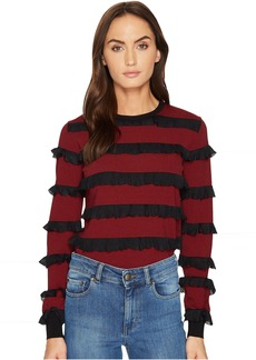 RED Valentino Striped Stretch Viscose & Rouches Top