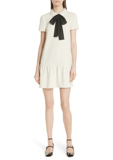 RED Valentino Tie Neck Drop Waist Dress
