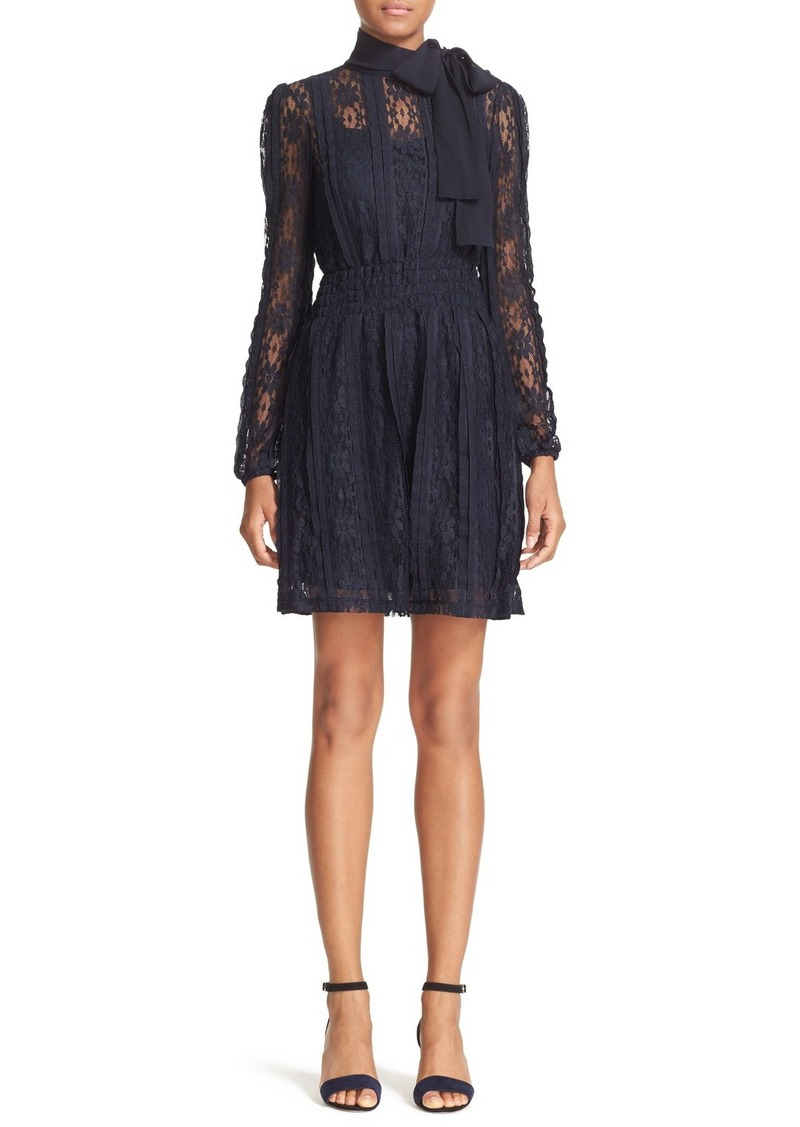 RED Valentino Tie Neck Lace Dress