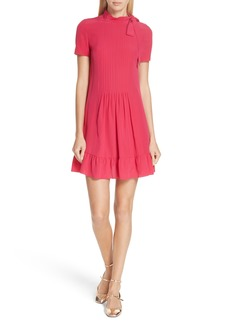 RED Valentino Tie Neck Pleated Silk Dress
