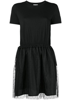Red Valentino tulle point d'esprit skirt T-shirt dress - Black