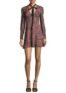 RED Valentino V-Neck Tie Long-Sleeve Printed Silk Mini Dress